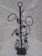 Wrought Iron 6 bottle wine rack leaf design
